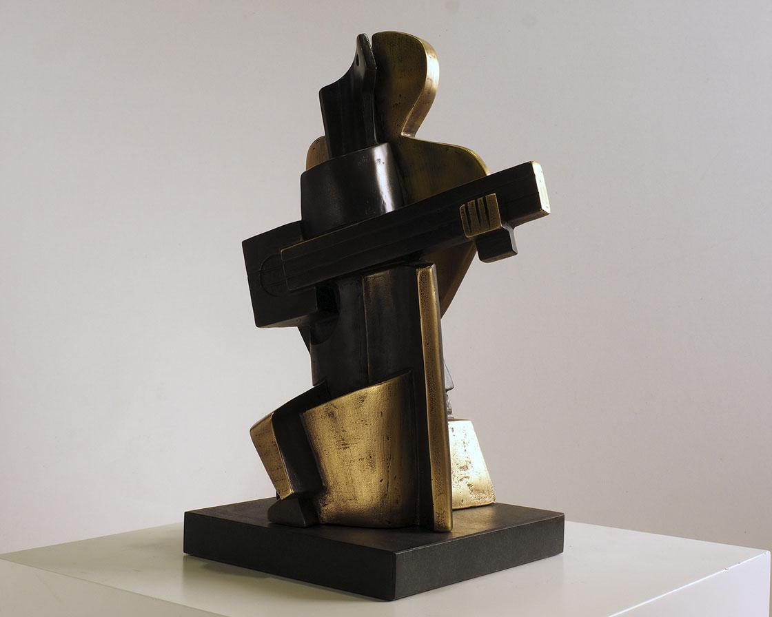 Arlequín cubista en bronce 2