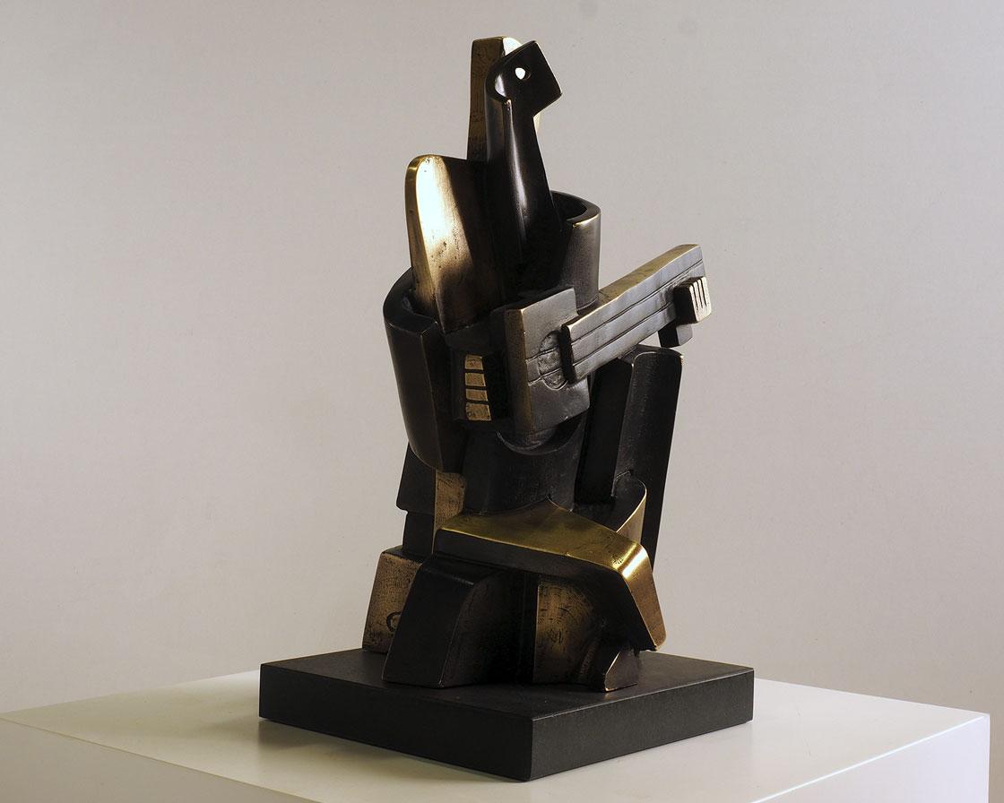 Arlequín cubista en bronce 3