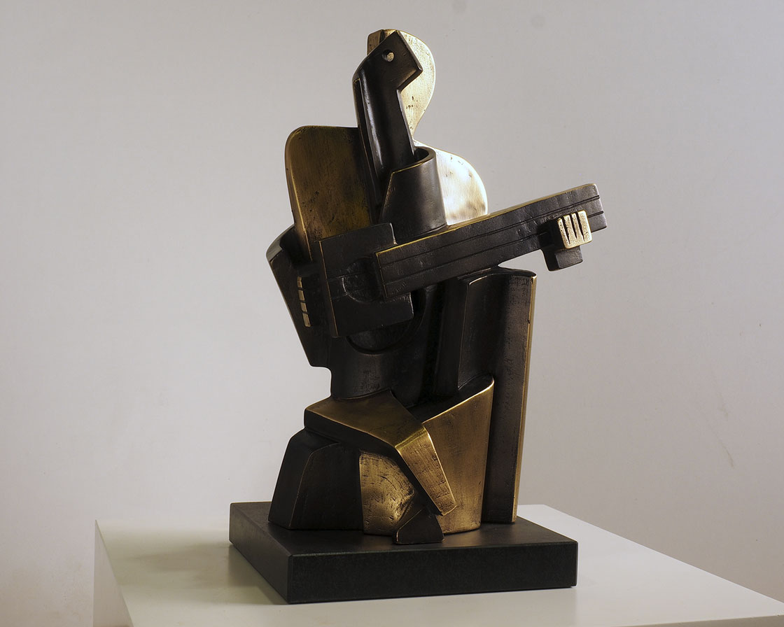 Arlequín cubista en bronce