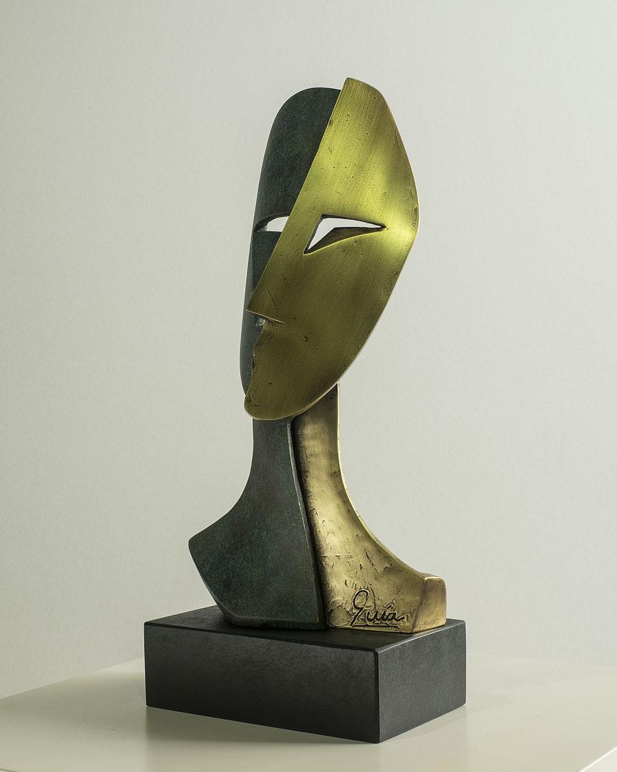 Rostro cubista en bronce 4