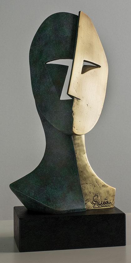 Rostro cubista en bronce