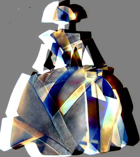 Menina cubista tridimensional