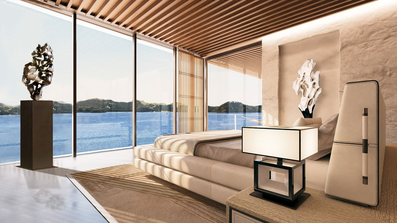 "My sculpture ""Essence of Youth"" in cast bronze on a Luxury Yacht"