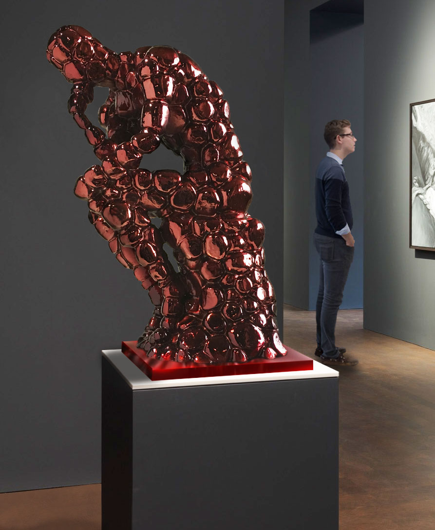 Pensador Rodin como excusa, rojo fuego 1M