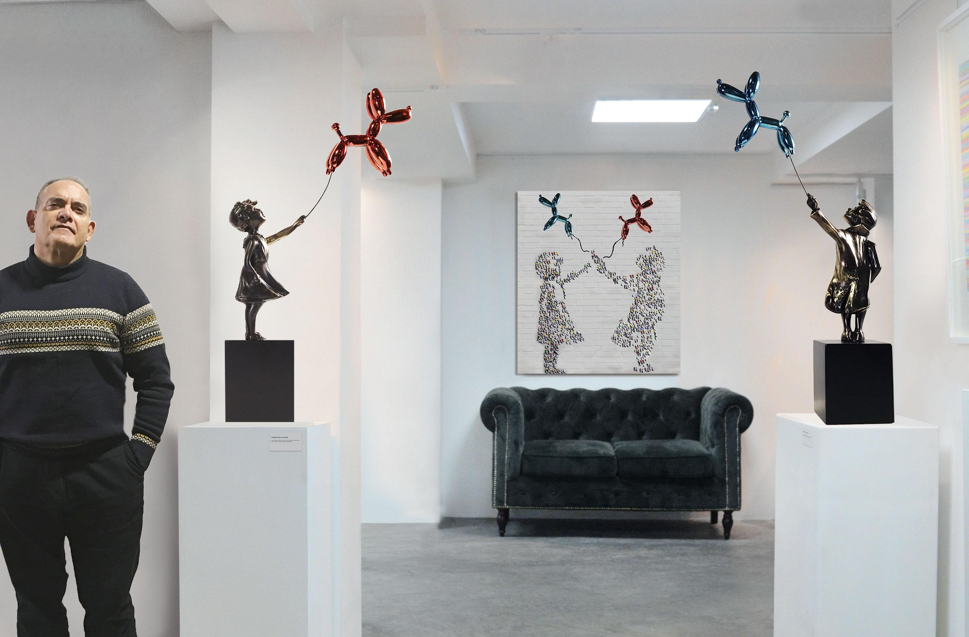 Por petición de muchos coleccionistas, por fin expuse mi niño y niña con globo grande en esta galería en Madrid.